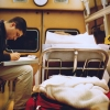 Cragin Greene completes a Patient Care Report before going in to the hospital in 1996. Photo by Bradley Wilson 700C13
