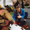 Kelly Hirsch, then president of the Syracuse University Ambulance and an EMT-D, works with the Syracuse Fire Department at a simulated DWI accident on campus in 1996. Photo by Bradley Wilson 694C19A