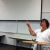 Val Kibler discusses journalism at the VAJTA and JMU summer journalism workshop at James Madison University. Photo by Bradley Wilson