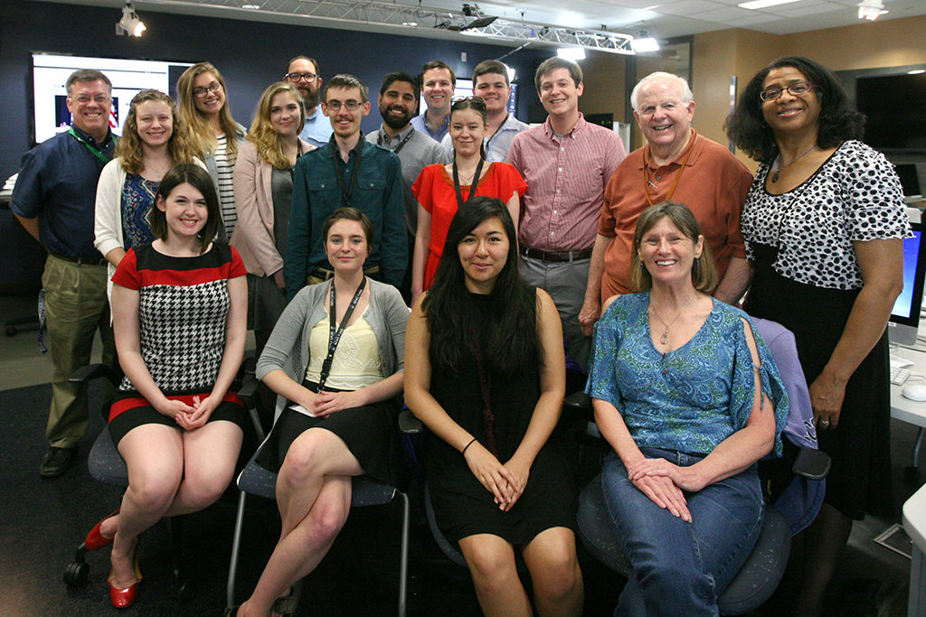 Eleven college students and recent college graduates train at The University of Texas at Austin for 10 days before heading to internships at daily newspapers around the nation. (front) Kate Shea, Andrea Platten, Paola Ruano and Beth Butler; (back) Bradley Wilson, Dani Malakoff, Meira Gebel, Zoe McDonald, Shane Graber, Greg Boyd, Jared Servantez, Mark Grabowski, Danielle Parenteau, Jack Heffernan, Edward Graham, Griff Singer, Linda Shockley