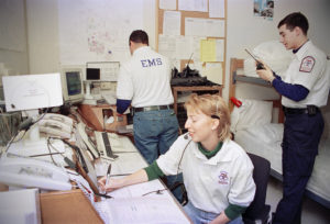 Students with Texas A&M University EMS, in 1996, work in the dispatch area. Photo by Bradley Wilson 718C3A
