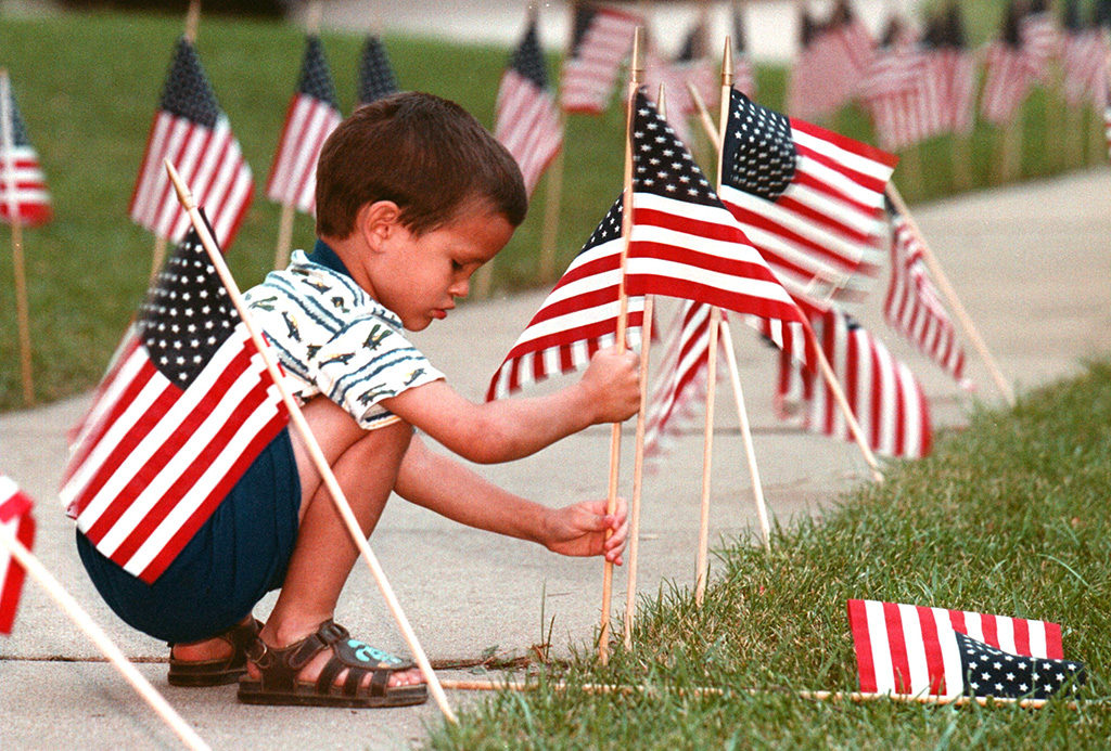 kid with flags