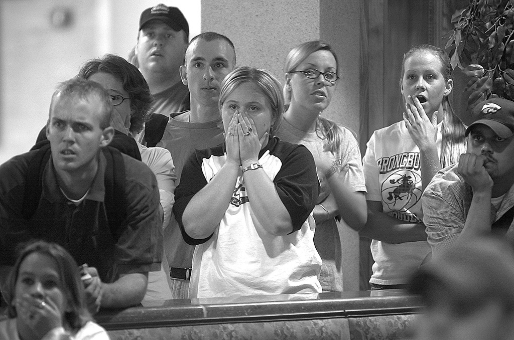 Student reaction to 9/11. Photo by Evan Semon.
